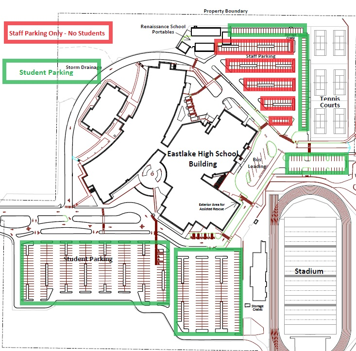 Map of the EHS campus with information about where to park